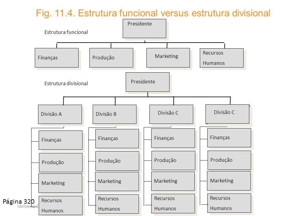 Fig. 11.4. Estrutura funcional versus estrutura divisional