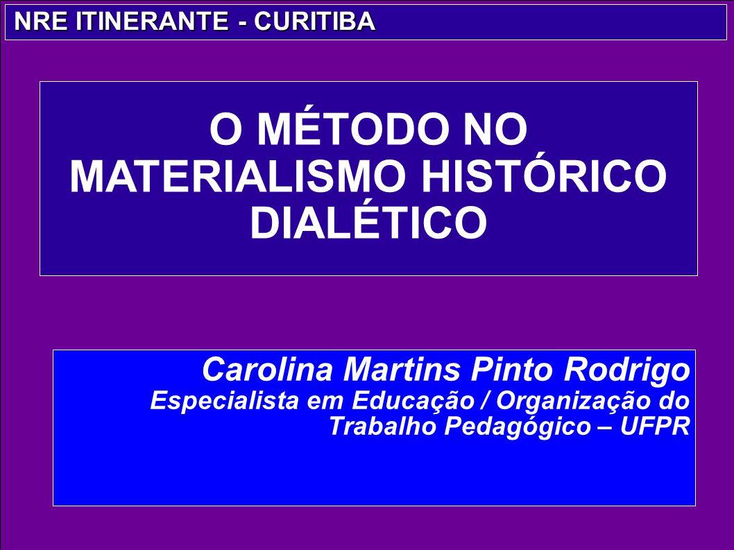 O MÉTODO NO MATERIALISMO HISTÓRICO DIALÉTICO