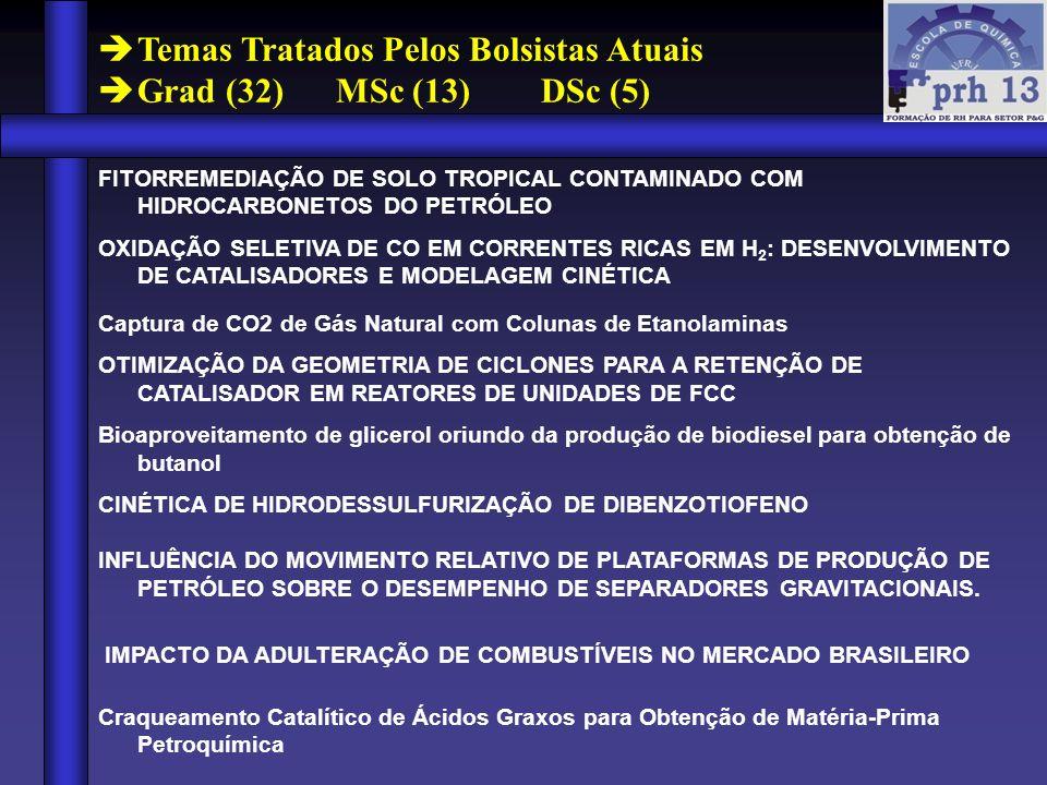 Temas Tratados Pelos Bolsistas Atuais Grad (32) MSc (13) DSc (5)