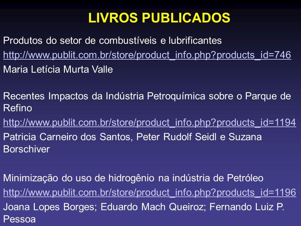 LIVROS PUBLICADOS Produtos do setor de combustíveis e lubrificantes