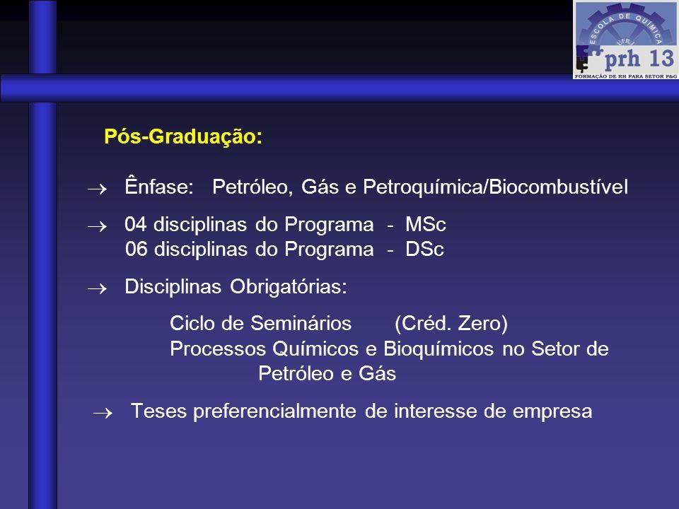 Pós-Graduação:  Ênfase: Petróleo, Gás e Petroquímica/Biocombustível.  04 disciplinas do Programa - MSc.