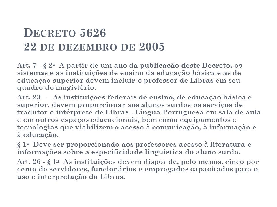 Decreto 5626 22 de dezembro de 2005