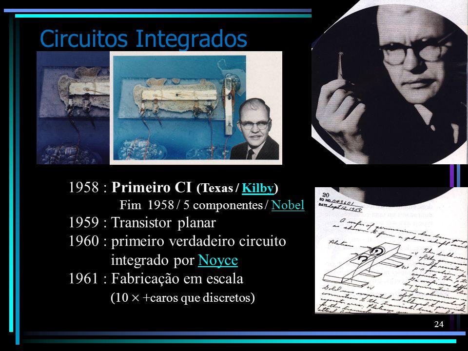 Circuitos Integrados 1958 : Primeiro CI (Texas / Kilby) Fim 1958 / 5 componentes / Nobel.