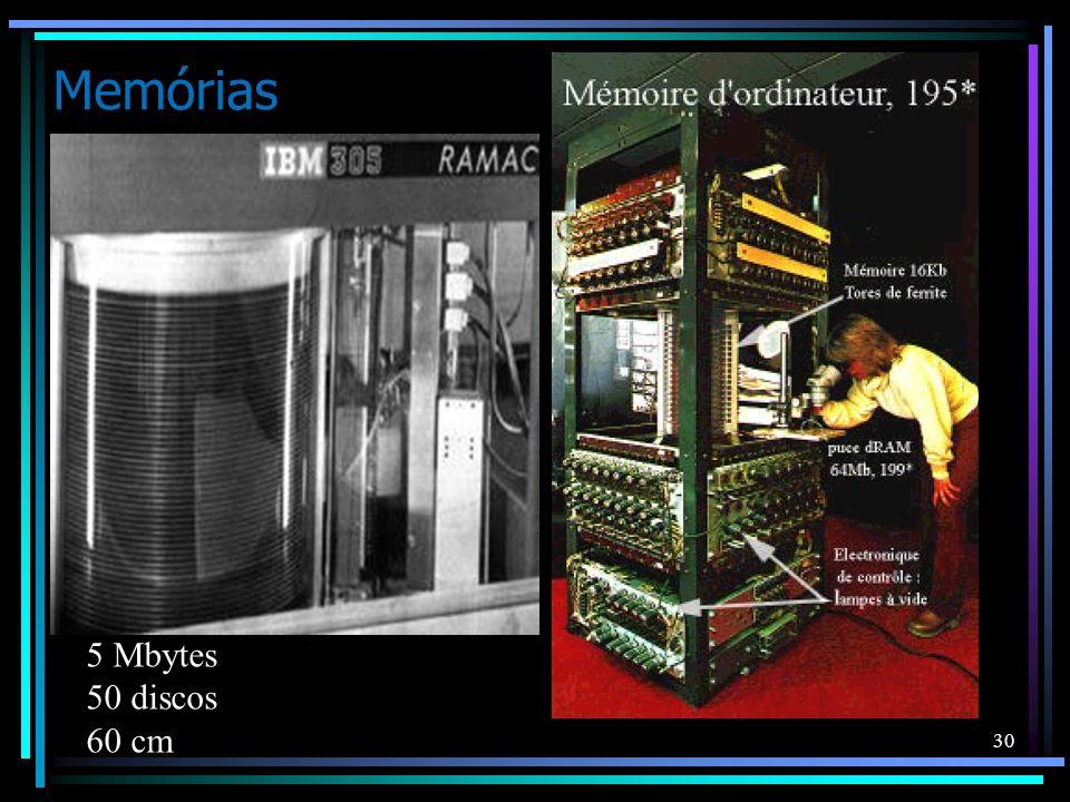 Memórias 5 Mbytes 50 discos 60 cm