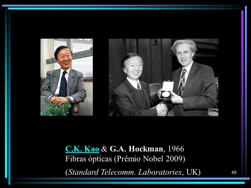 C.K. Kao & G.A. Hockman, 1966 Fibras ópticas (Prêmio Nobel 2009) (Standard Telecomm.