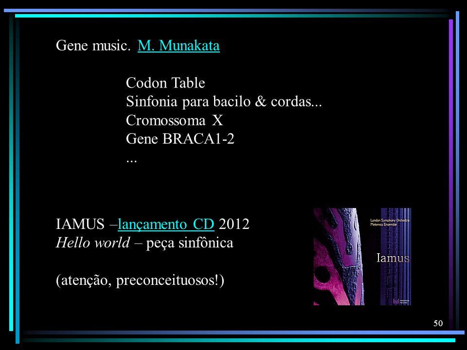 Gene music. M. Munakata Codon Table. Sinfonia para bacilo & cordas... Cromossoma X. Gene BRACA1-2.