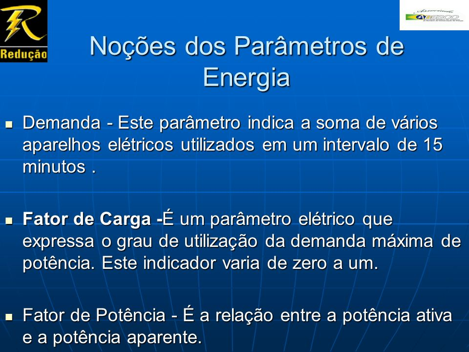 Noções dos Parâmetros de Energia