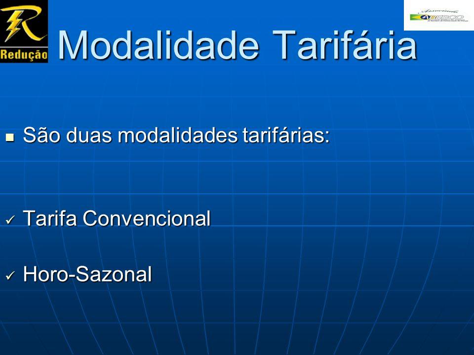 Modalidade Tarifária São duas modalidades tarifárias: