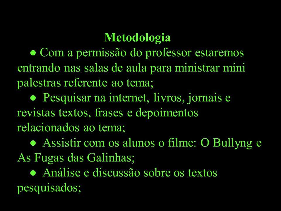 Metodologia ● Com a permissão do professor estaremos entrando nas salas de aula para ministrar mini palestras referente ao tema;