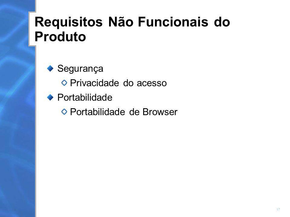 Requisitos Não Funcionais do Produto