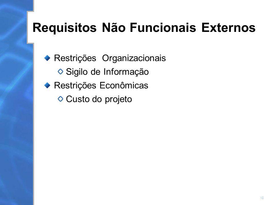 Requisitos Não Funcionais Externos