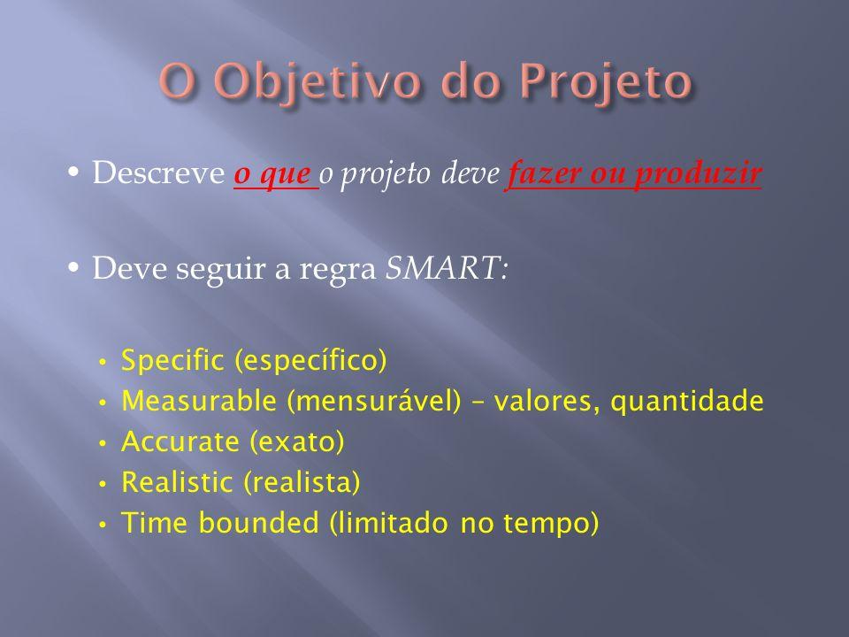 O Objetivo do Projeto • Descreve o que o projeto deve fazer ou produzir. • Deve seguir a regra SMART: