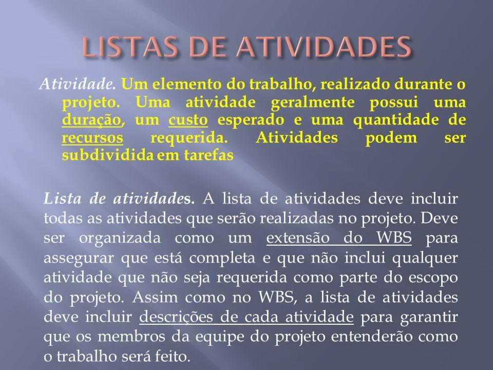 LISTAS DE ATIVIDADES
