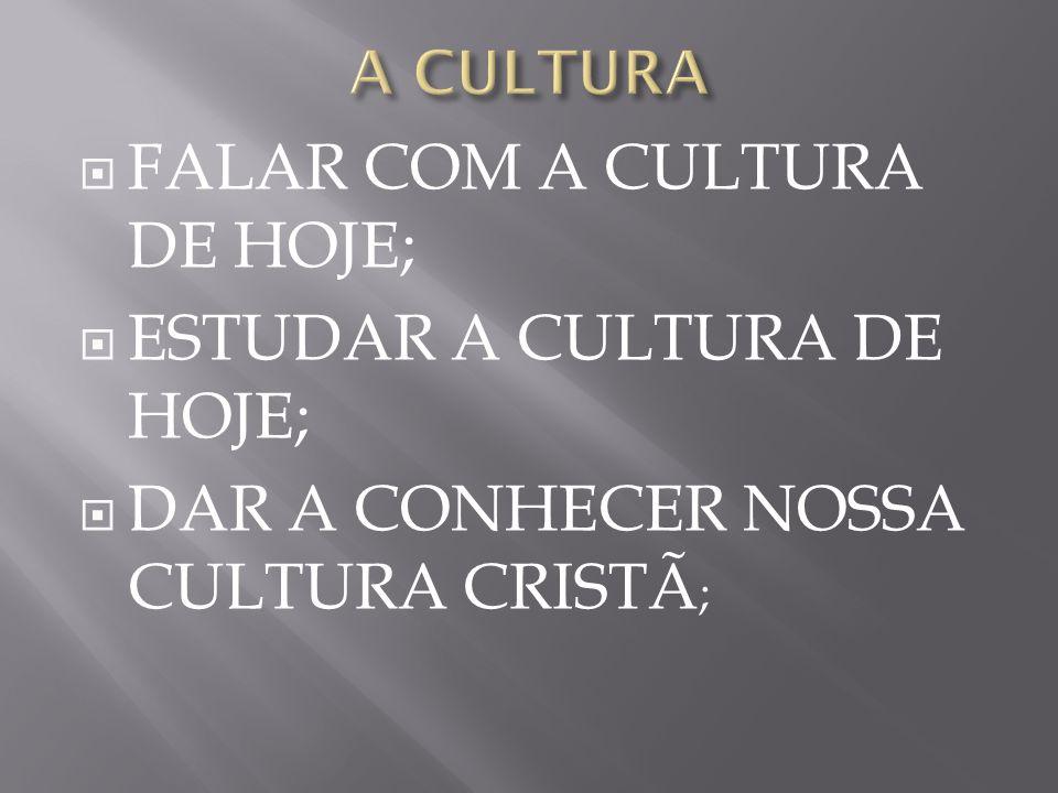 FALAR COM A CULTURA DE HOJE; ESTUDAR A CULTURA DE HOJE;
