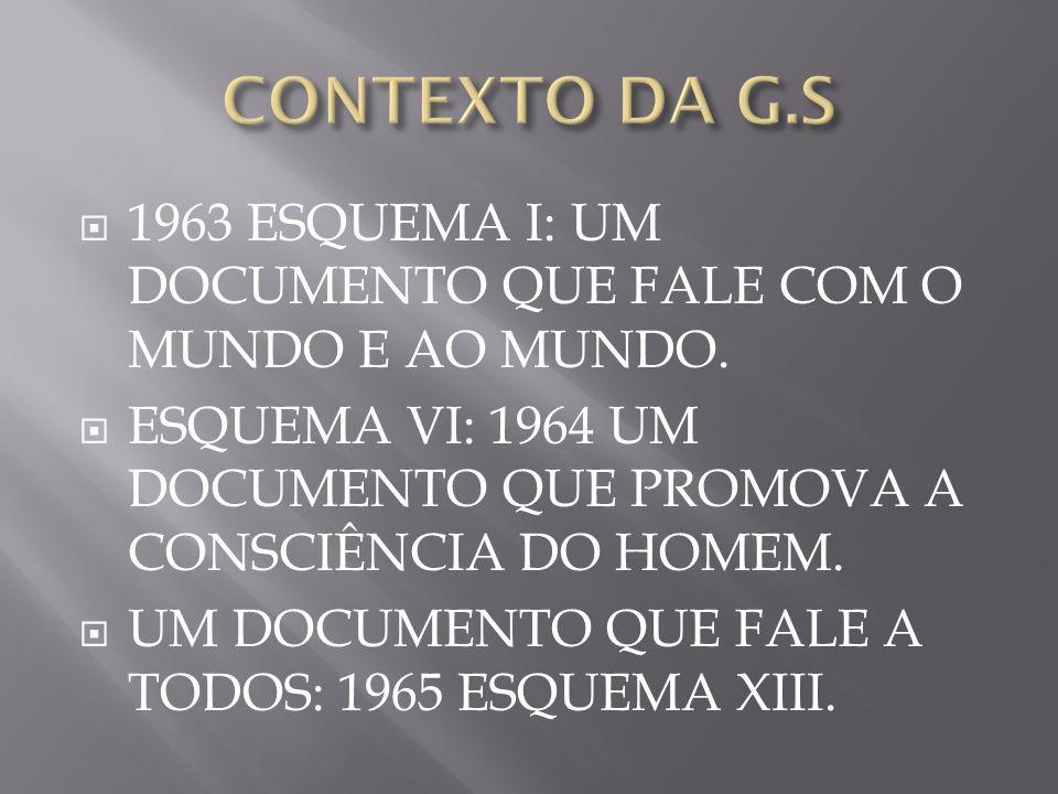 CONTEXTO DA G.S 1963 ESQUEMA I: UM DOCUMENTO QUE FALE COM O MUNDO E AO MUNDO. ESQUEMA VI: 1964 UM DOCUMENTO QUE PROMOVA A CONSCIÊNCIA DO HOMEM.