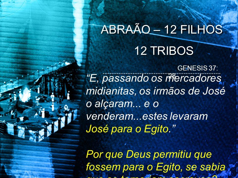 ABRAÃO – 12 FILHOS 12 TRIBOS. GENESIS 37: 28.