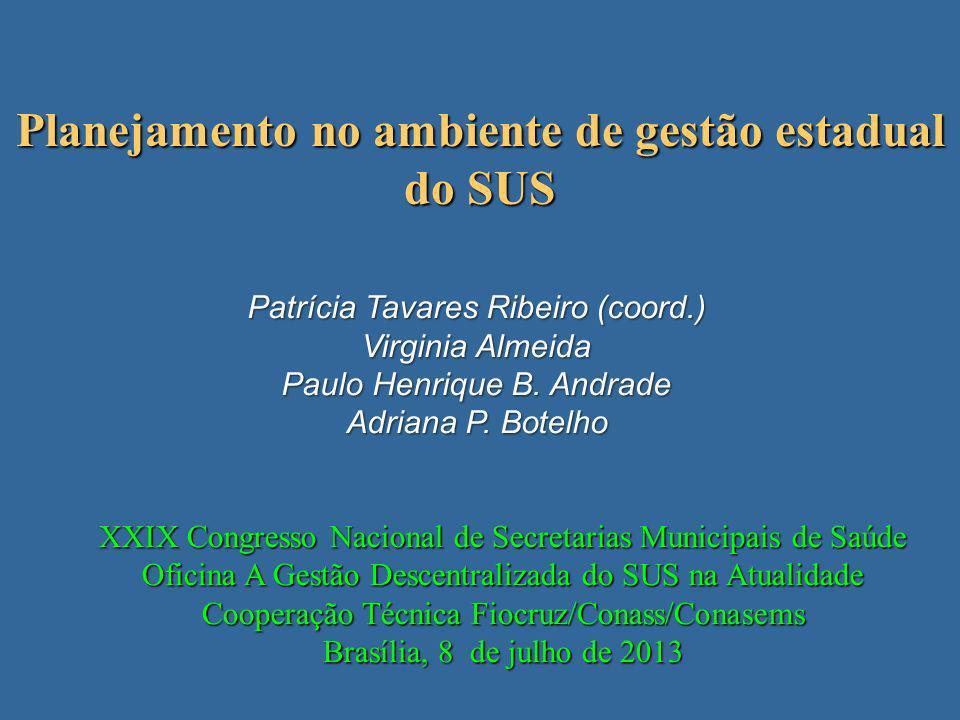 Planejamento no ambiente de gestão estadual do SUS