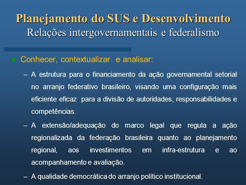 Planejamento do SUS e Desenvolvimento Relações intergovernamentais e federalismo