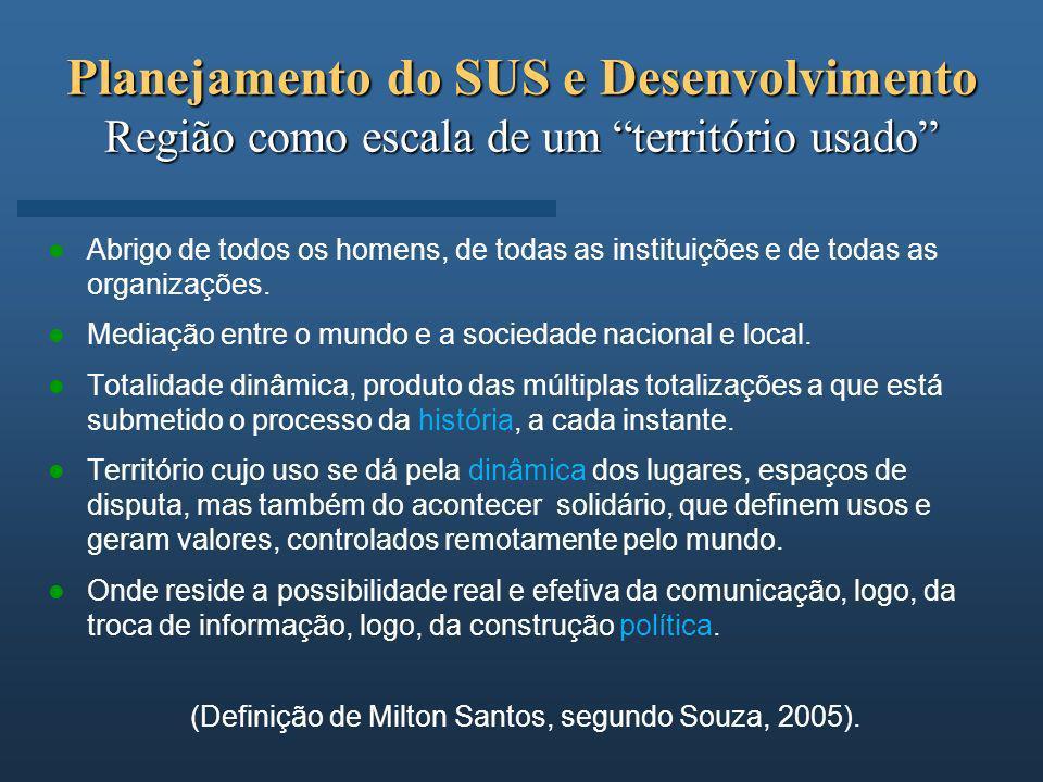 (Definição de Milton Santos, segundo Souza, 2005).