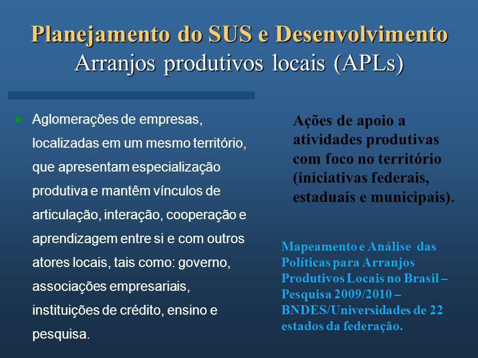 Planejamento do SUS e Desenvolvimento Arranjos produtivos locais (APLs)
