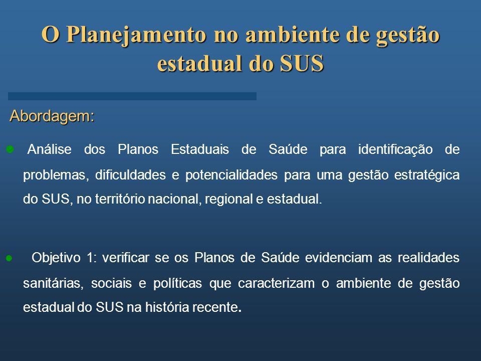 O Planejamento no ambiente de gestão estadual do SUS