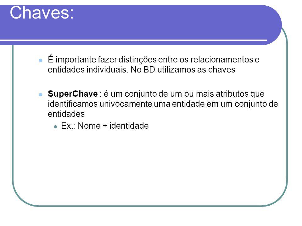 Chaves: É importante fazer distinções entre os relacionamentos e entidades individuais. No BD utilizamos as chaves.