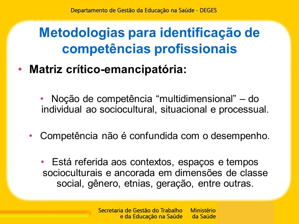 Metodologias para identificação de competências profissionais