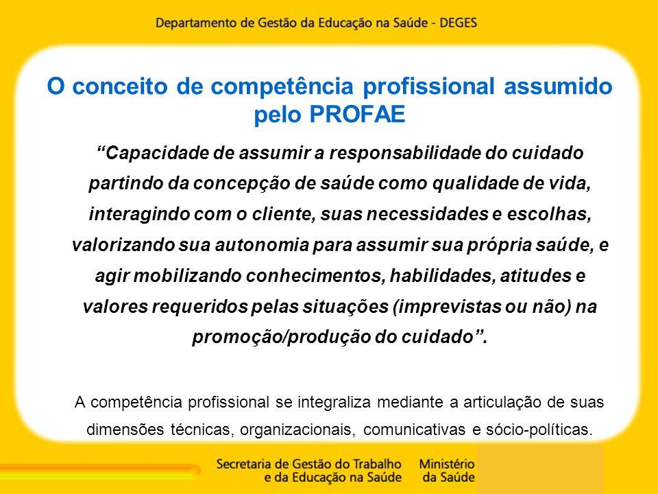 O conceito de competência profissional assumido pelo PROFAE