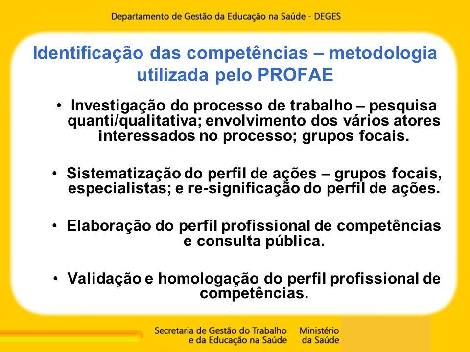 Identificação das competências – metodologia utilizada pelo PROFAE
