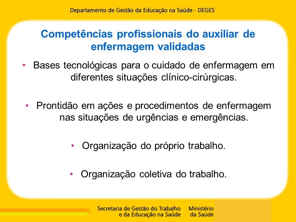 Competências profissionais do auxiliar de enfermagem validadas