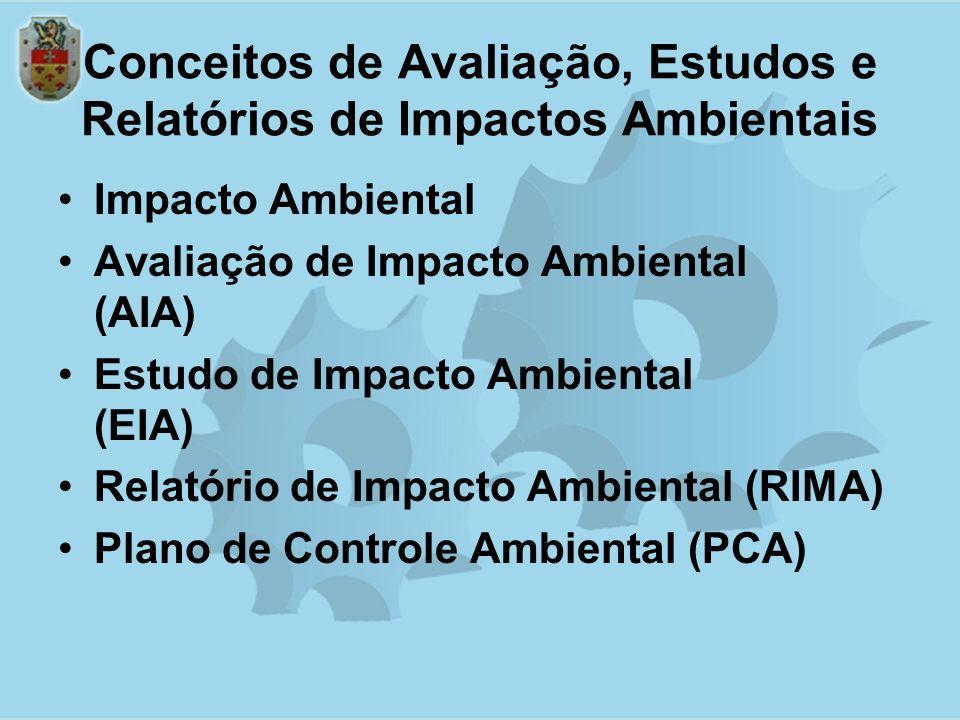Conceitos de Avaliação, Estudos e Relatórios de Impactos Ambientais