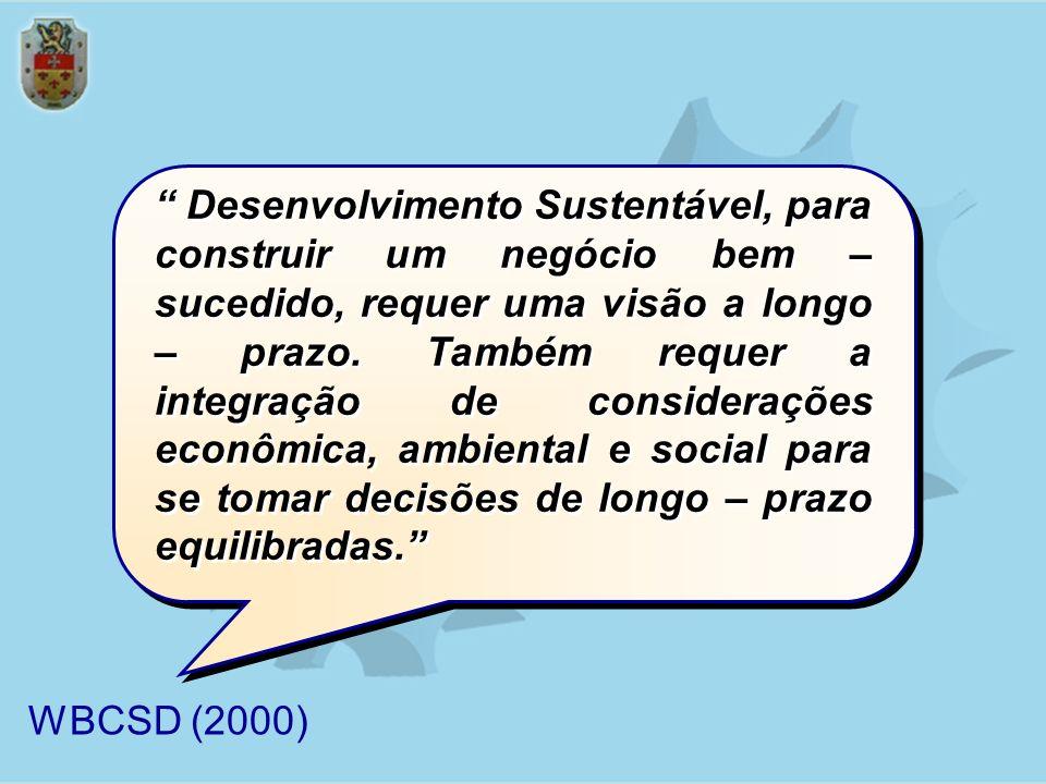 Desenvolvimento Sustentável, para construir um negócio bem – sucedido, requer uma visão a longo – prazo. Também requer a integração de considerações econômica, ambiental e social para se tomar decisões de longo – prazo equilibradas.