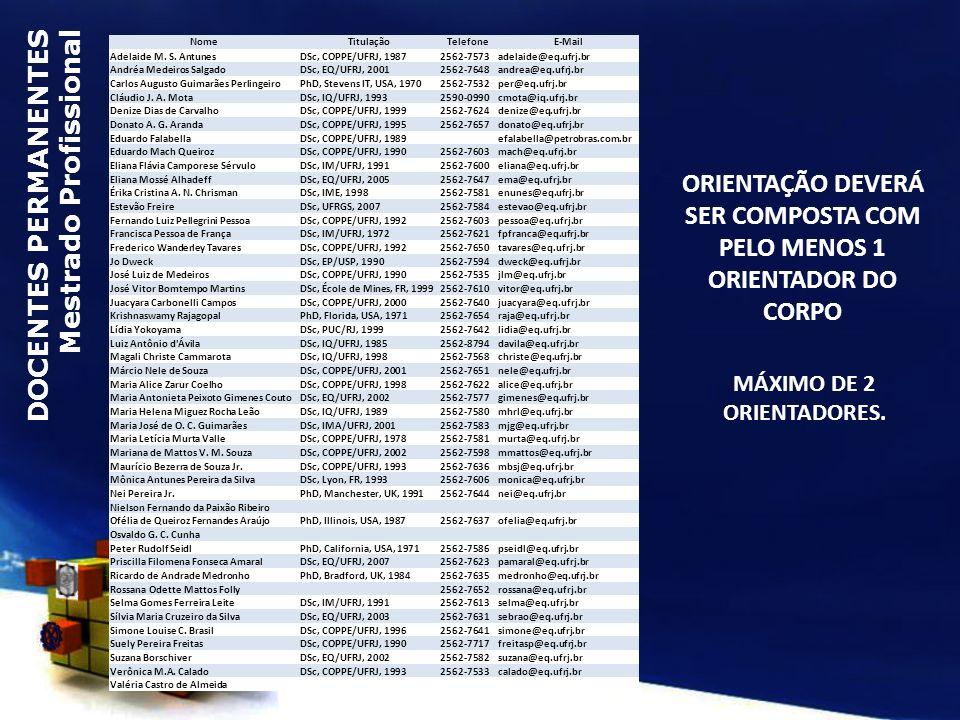 ORIENTAÇÃO DEVERÁ SER COMPOSTA COM PELO MENOS 1 ORIENTADOR DO CORPO