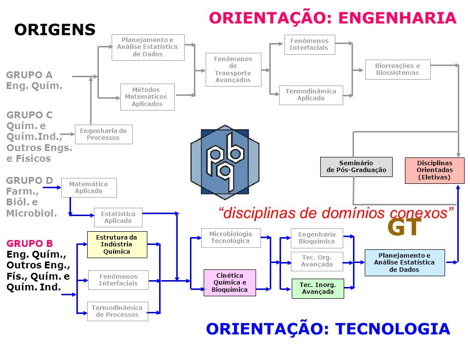 GT ORIENTAÇÃO: ENGENHARIA ORIGENS disciplinas de domínios conexos