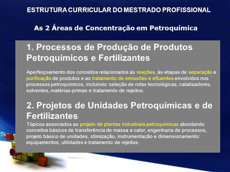 As 2 Áreas de Concentração em Petroquímica
