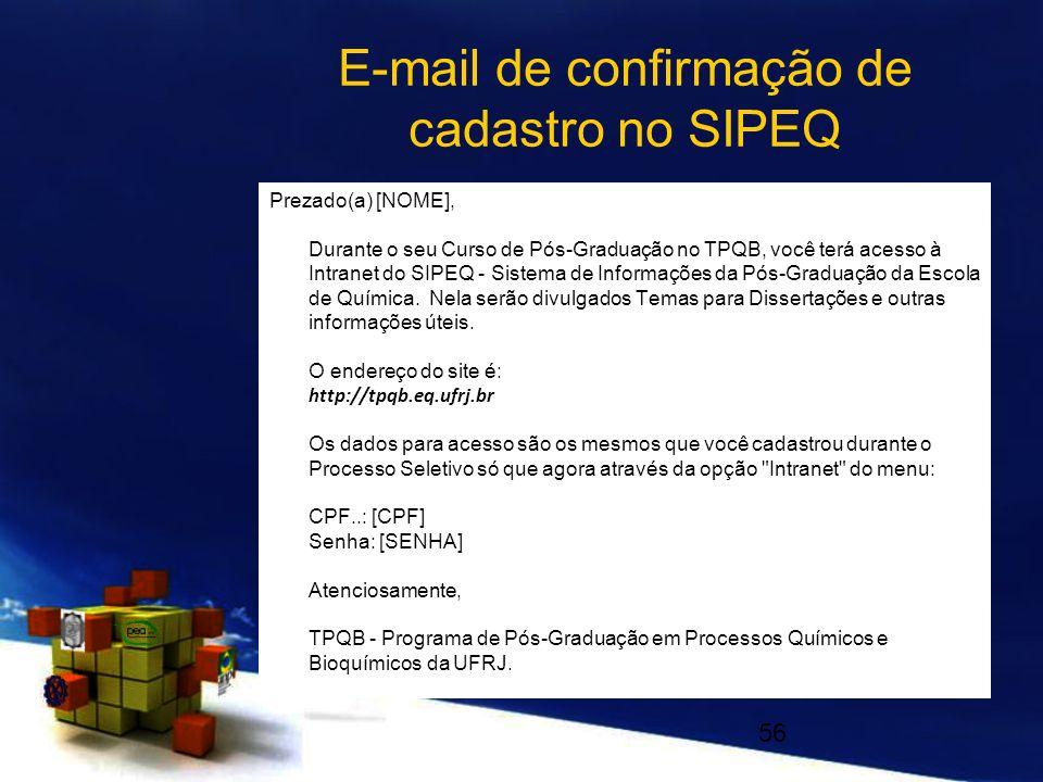 E-mail de confirmação de cadastro no SIPEQ