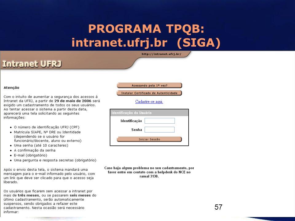 PROGRAMA TPQB: intranet.ufrj.br (SIGA)