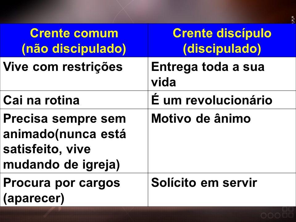 Crente comum (não discipulado) Crente discípulo (discipulado)