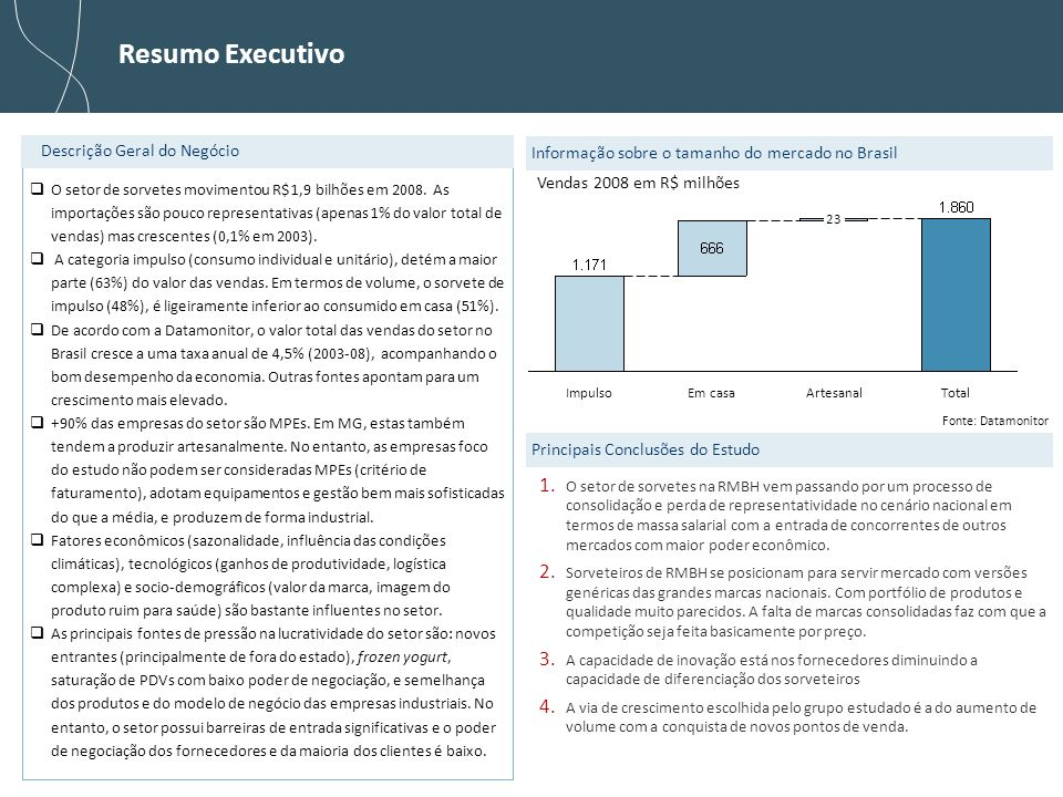 Resumo Executivo Descrição Geral do Negócio