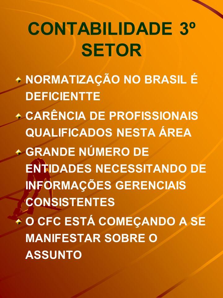 CONTABILIDADE 3º SETOR NORMATIZAÇÃO NO BRASIL É DEFICIENTTE