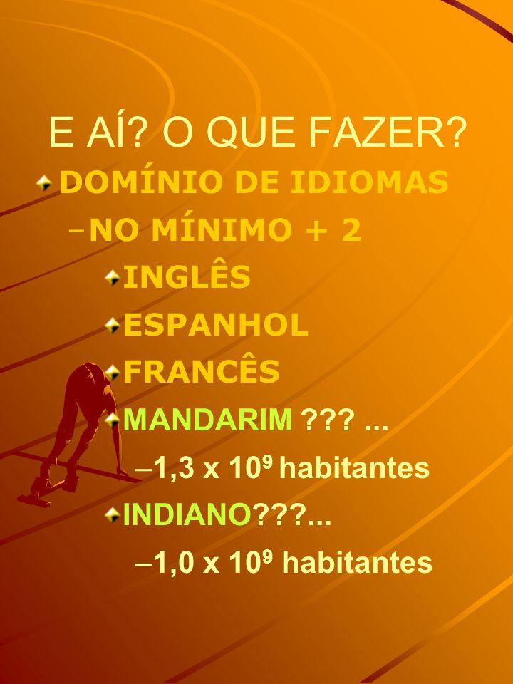 E AÍ O QUE FAZER DOMÍNIO DE IDIOMAS NO MÍNIMO + 2 INGLÊS ESPANHOL