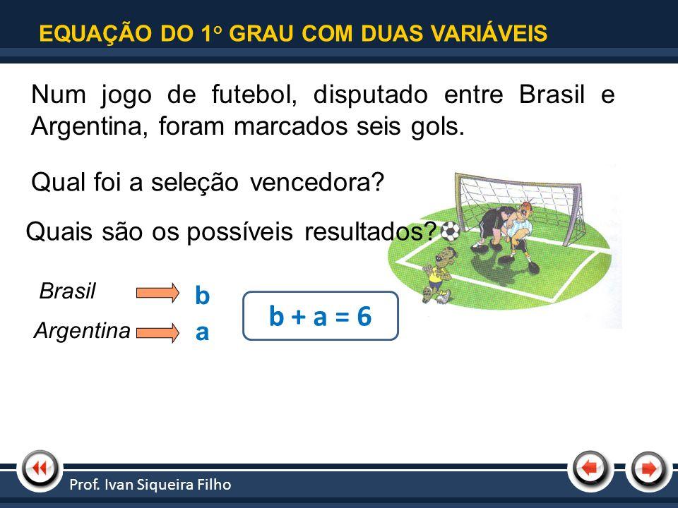 | Tópico 1 EQUAÇÃO DO 1o GRAU COM DUAS VARIÁVEIS. Num jogo de futebol, disputado entre Brasil e Argentina, foram marcados seis gols.