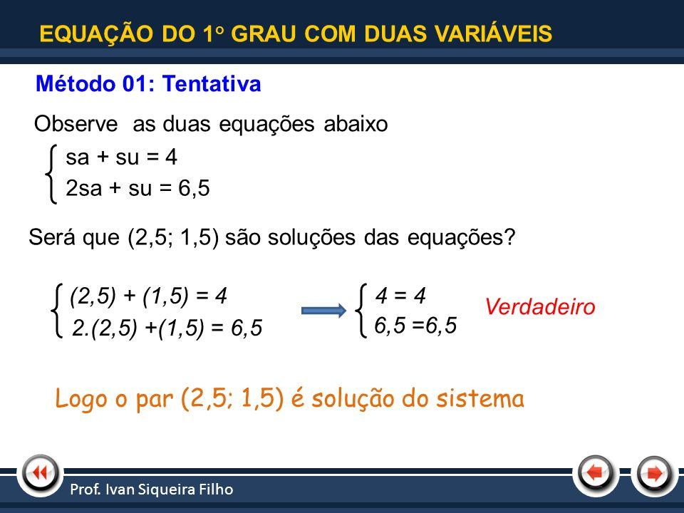 Logo o par (2,5; 1,5) é solução do sistema