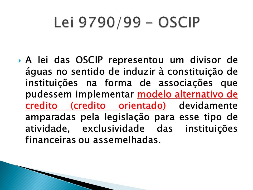 Lei 9790/99 - OSCIP