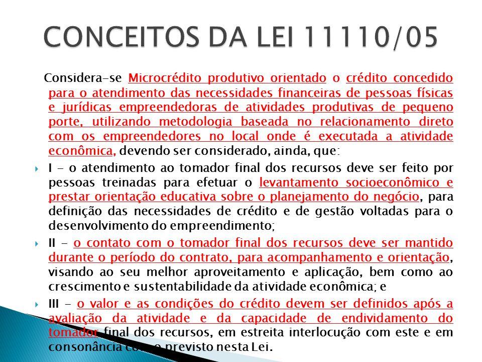 CONCEITOS DA LEI 11110/05