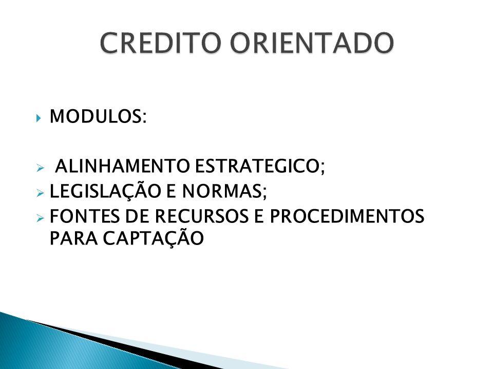 CREDITO ORIENTADO MODULOS: ALINHAMENTO ESTRATEGICO;