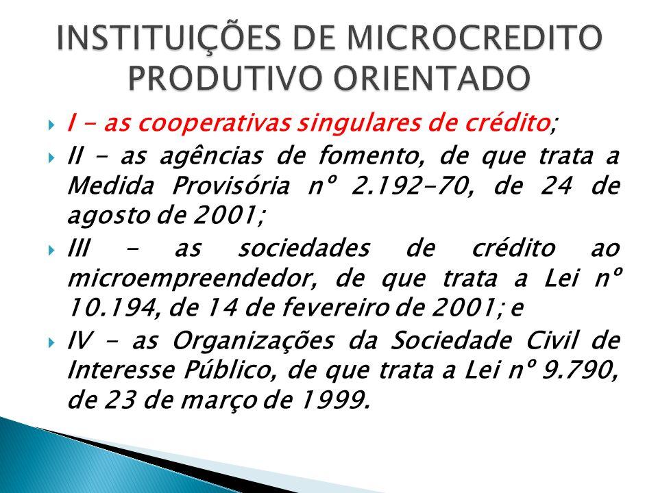 INSTITUIÇÕES DE MICROCREDITO PRODUTIVO ORIENTADO