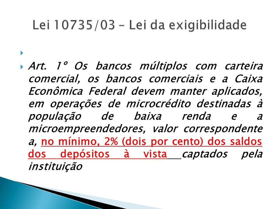 Lei 10735/03 – Lei da exigibilidade