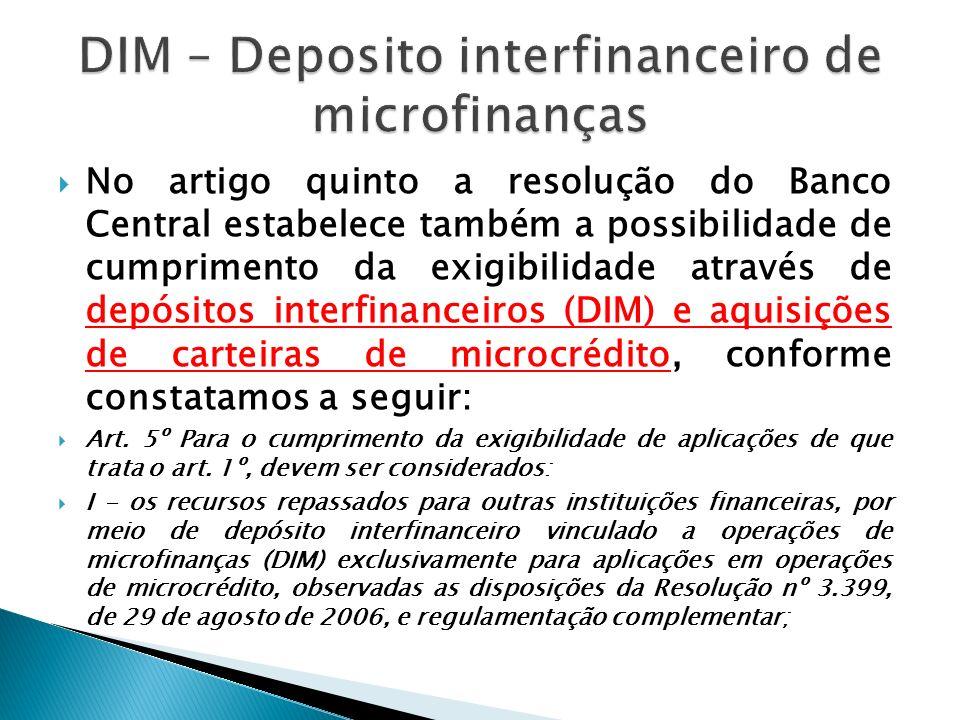 DIM – Deposito interfinanceiro de microfinanças