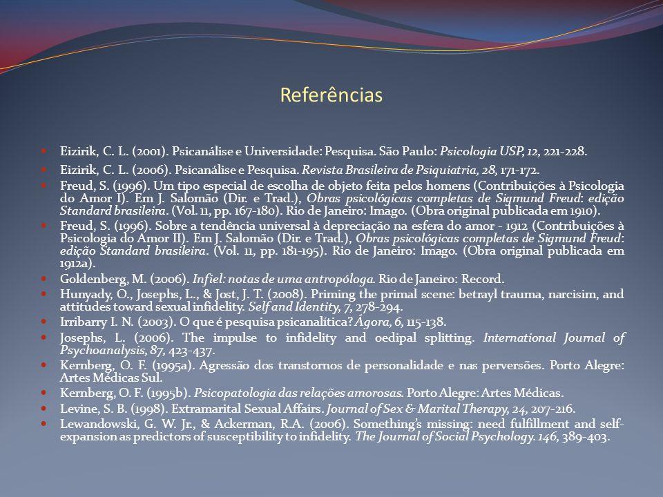 Referências Eizirik, C. L. (2001). Psicanálise e Universidade: Pesquisa. São Paulo: Psicologia USP, 12, 221-228.